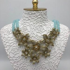 Anthropologie Gold Gilded Gerbera Bib Necklace